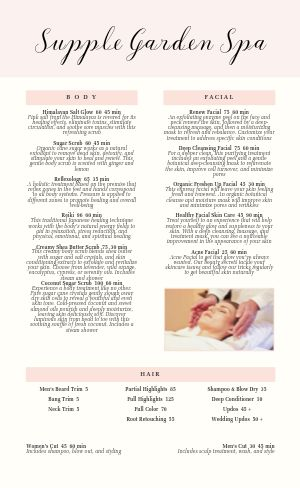 Beige Spa Menu