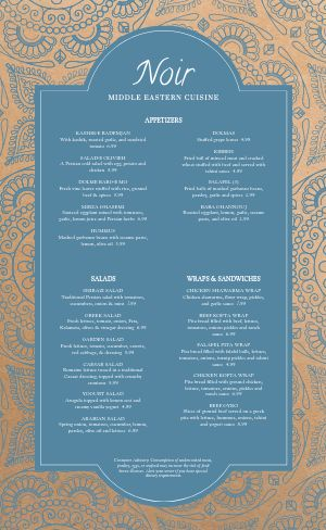 Middle Eastern Mosaic Menu