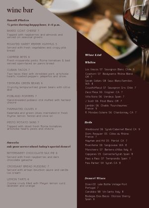 Hotel Wine Bar A4 Menu