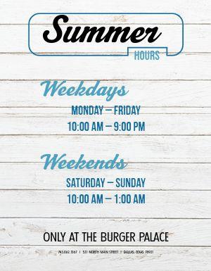 Summer Schedule Flyer