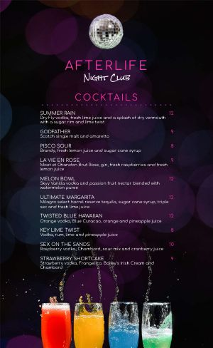 Night Club Drink Menu
