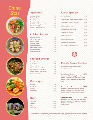 Chinese Family Menu