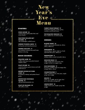 New Years Night Menu