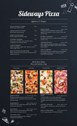Simple Pizza Menu Example