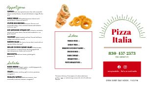 Basic Italian Takeout Menu