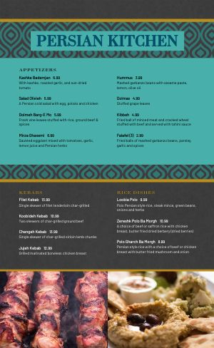 Aqua Middle Eastern Menu