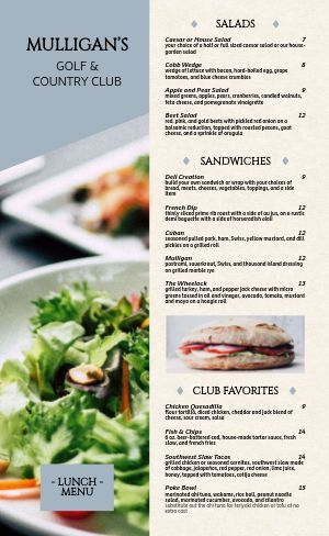 Golf Country Club Menu Example