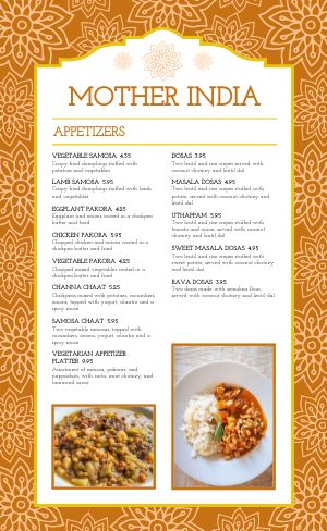 Floral Indian Cuisine Menu