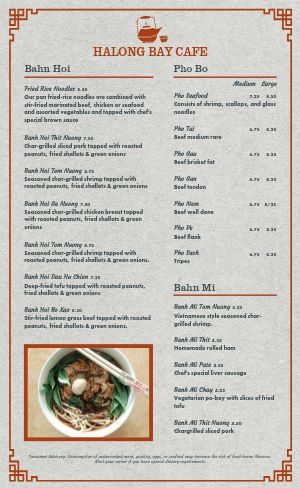 Vietnamese Dinner Menu