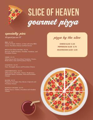 Standard Pizza Menu