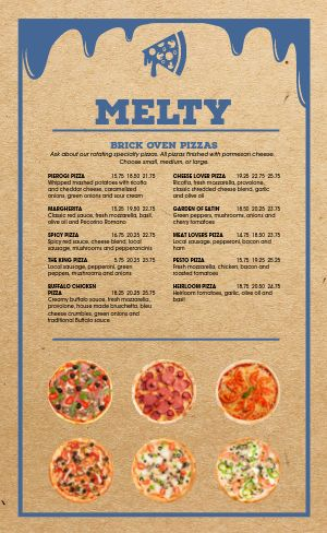 Cheese Pizza Menu