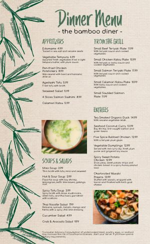 Bamboo Japanese Menu