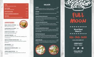 Wood Fired Pizza Takeout Menu Example