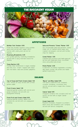 Floral Vegan Menu