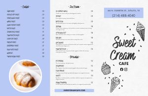 Casual Dessert Folded Menu