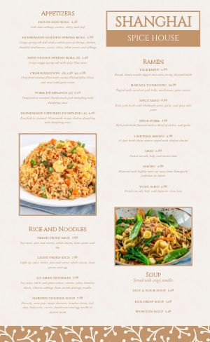 Spice Chinese Menu