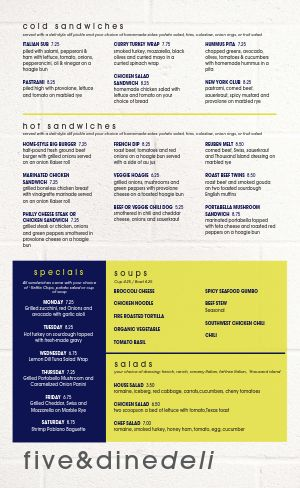 Deli Cold Cuts Menu