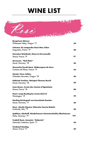 Rose Wine List Menu