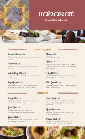 Traditional Middle Eastern Menu
