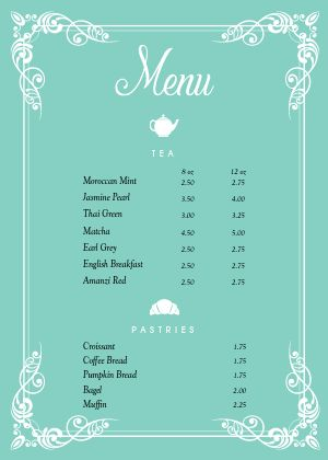 Cafe Tea A4 Menu