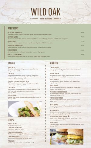 Elegant Rustic Cafe Menu