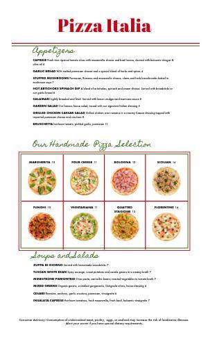 Basic Italian Menu