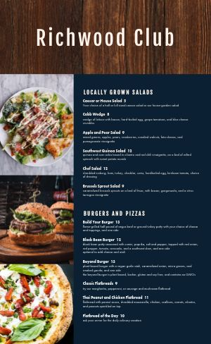 Wooden Country Club Menu