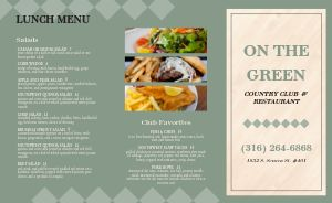 Restaurant Country Club Takeout Menu