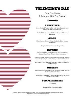 Valentines Prix Fixe Menu