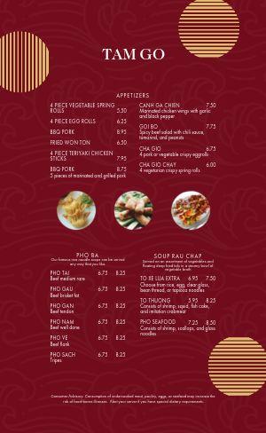 Modern Vietnamese Menu