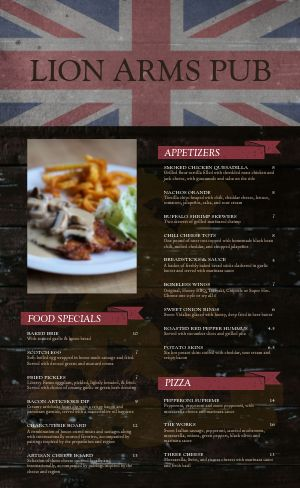 English Pub Menu Example