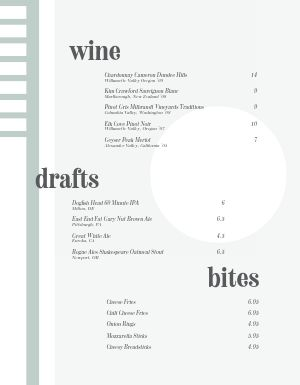Conceptual Bar Menu
