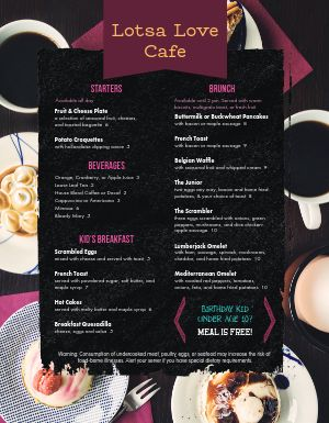 Delicatessen Breakfast Menu