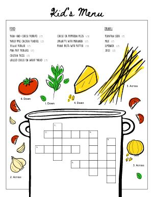 Crossword Kids Menu