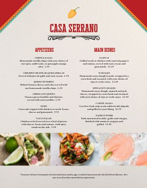 Formal Mexican Menu