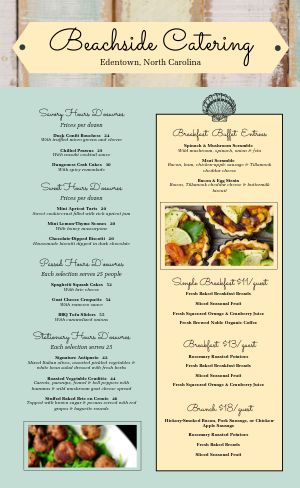 Beachside Catering Menu