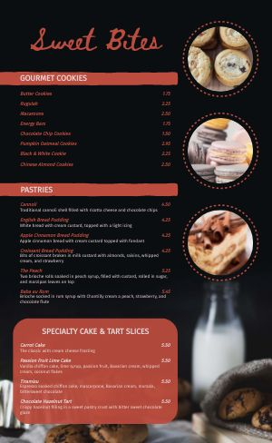 Bakery Shoppe Menu
