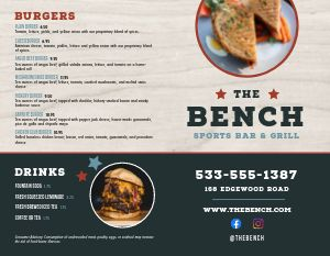 Sports Bar Bench Bifold Takeout Menu