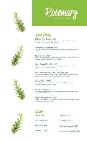 Vegan Menu Sample