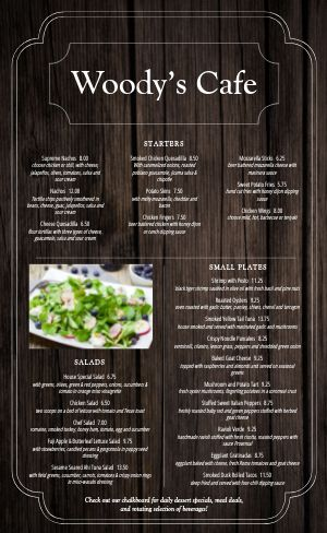 Timber Cafe Menu