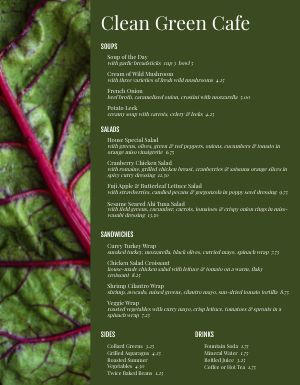 Cafe Salad Leaf Menu