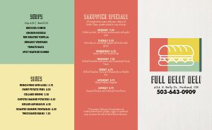 Colorful Deli Takeout Menu