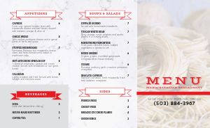 Pasta Italian Takeout Menu
