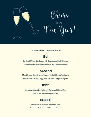 New Years Eve Cheers Menu