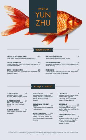 Vivid Seafood Menu