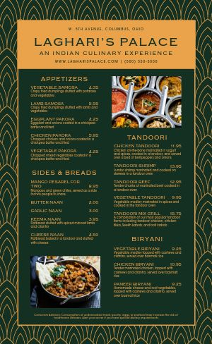 Upscale Indian Cuisine Menu