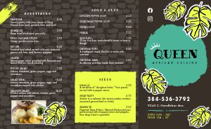 Bright African Takeout Menu