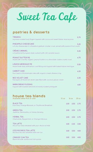 Rainbow Cafe Menu