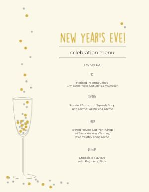 New Years Flute Menu