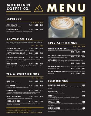 Coffee Food Cart Menu Poster